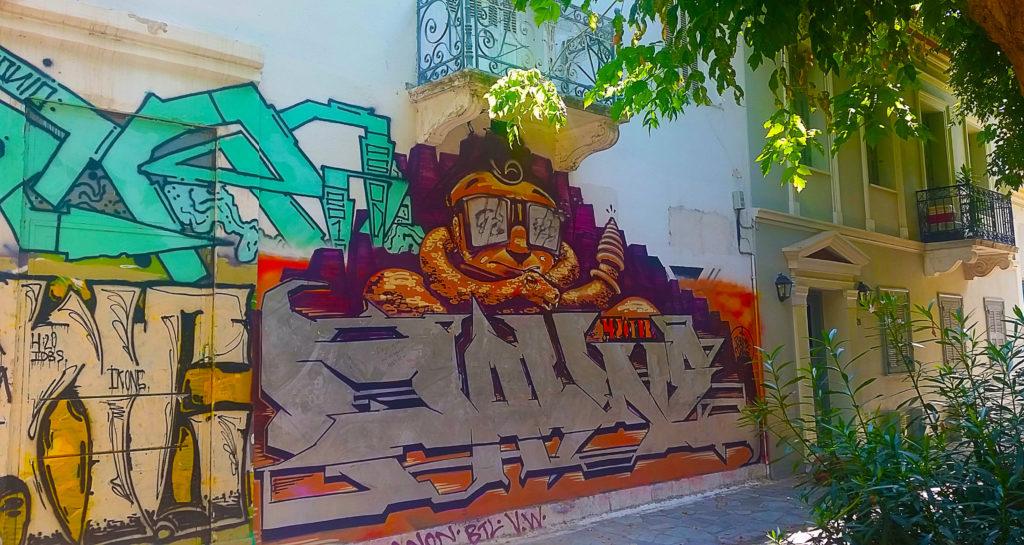 street art coloré à Athènes, Grèce