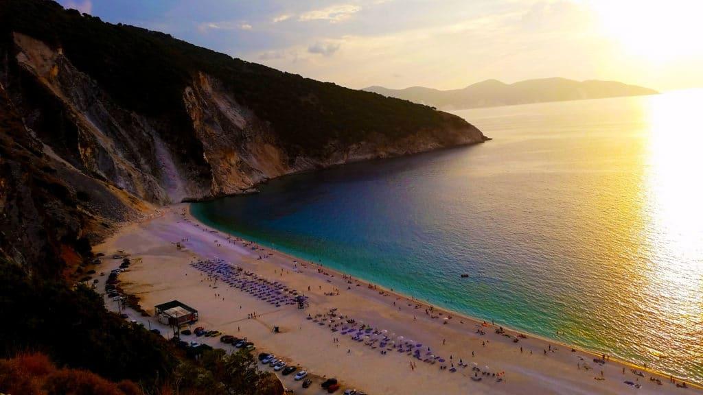 La plage de Myrtos à Céphalonie, Kefalonia, Grèce
