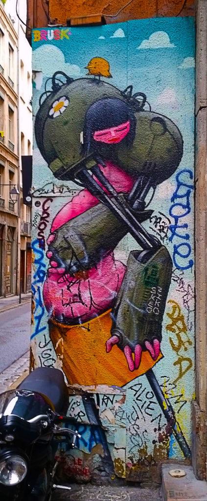 street art de Brusk, rue Romarin à la Croix Rousse, Lyon