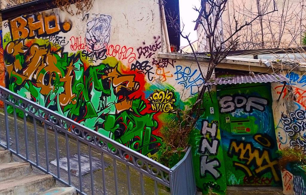 escalier en street art, rue Diderot à la Croix Rousse, Lyon