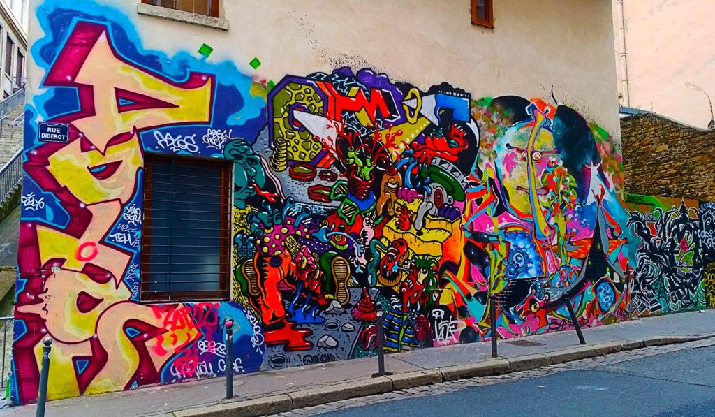 street art rue Diderot à la Croix Rousse, Lyon