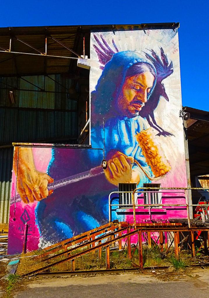 le street artiste Alaniz à la Street Art City de Lurcy-Lévis, Allier