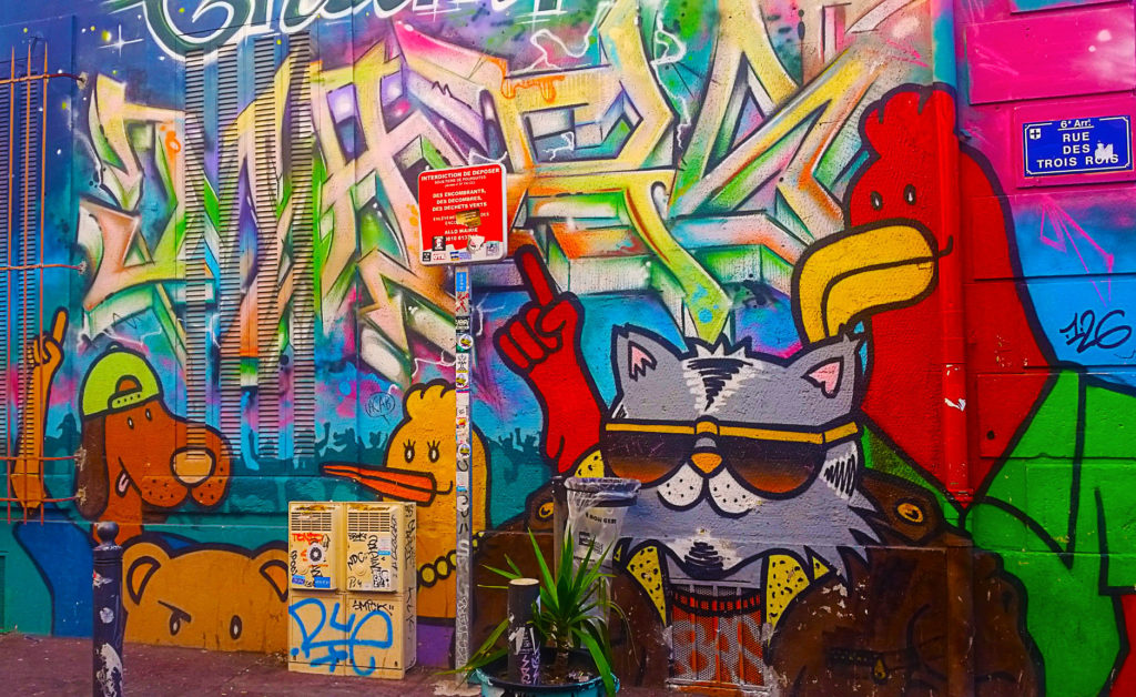 Chat en street art Cours Julien, Marseille