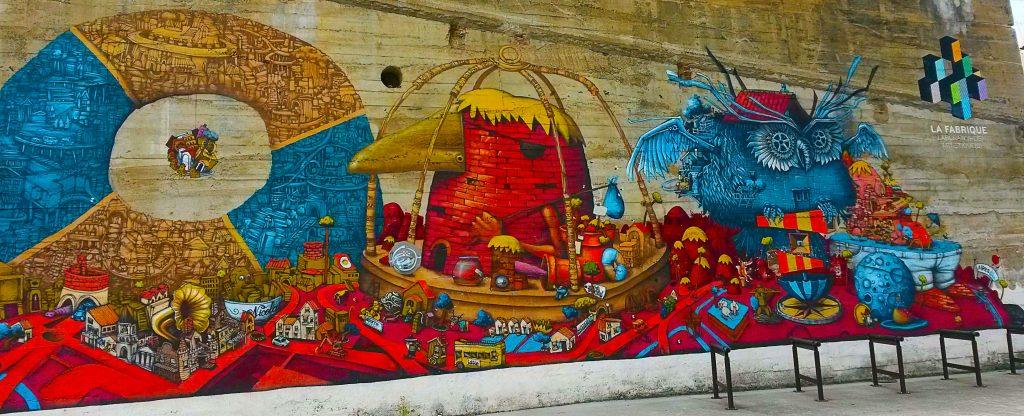 street art sur les murs de la Fabrique, île de Nantes