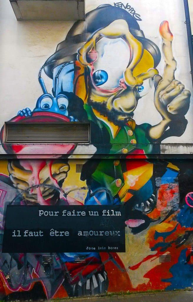 street art autour du cinéma et du sentiment amoureux à Nantes