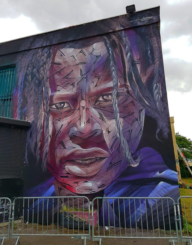 le street artiste français Hopare au TrubLyon Street Art Festival 2017.