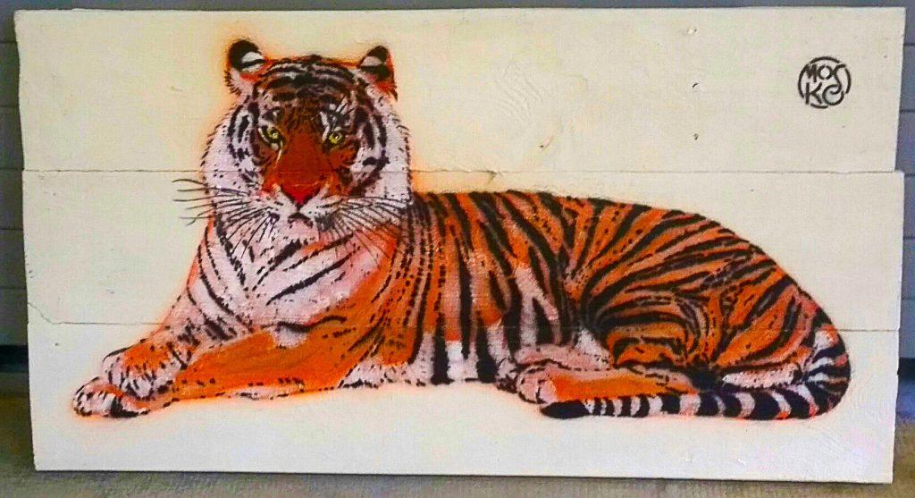 Le tigre du street artiste Mosko exposé dans la galerie atelier
