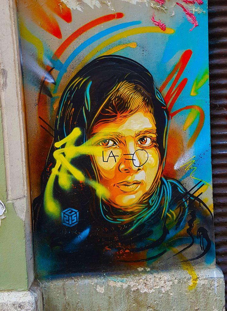 le portrait de Malala par C215, street art Grenoble.
