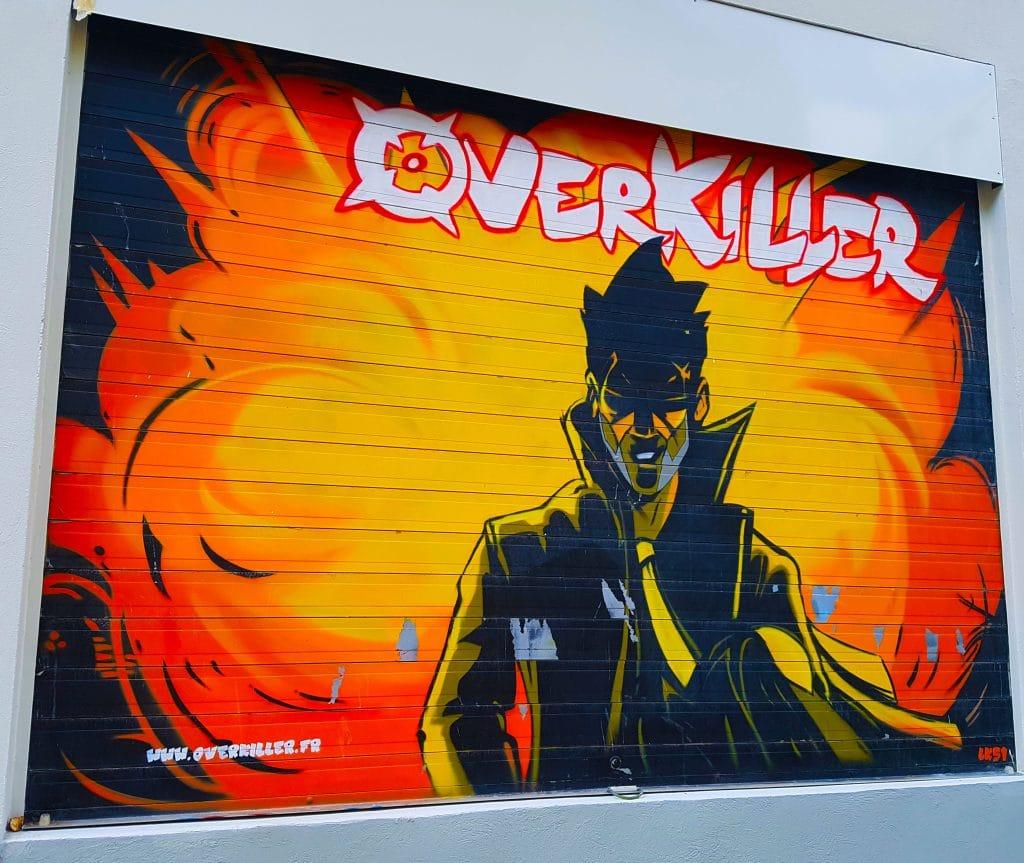 hommage en street art à la bande déssinée Over Killer, Grenoble.