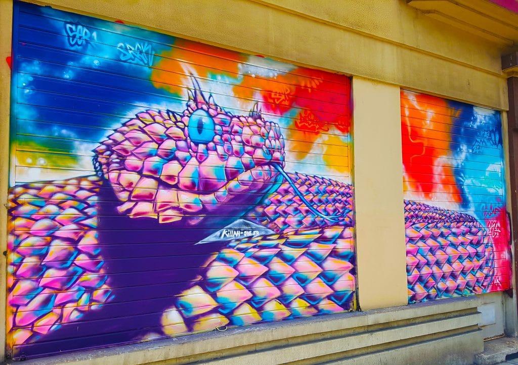 un serpent plus vrai que nature à Grenoble, street art.