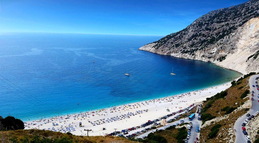 la plage de Myrtos, l'un des plus belles de Céphalonie (Kefalonia), de Grèce et du monde.