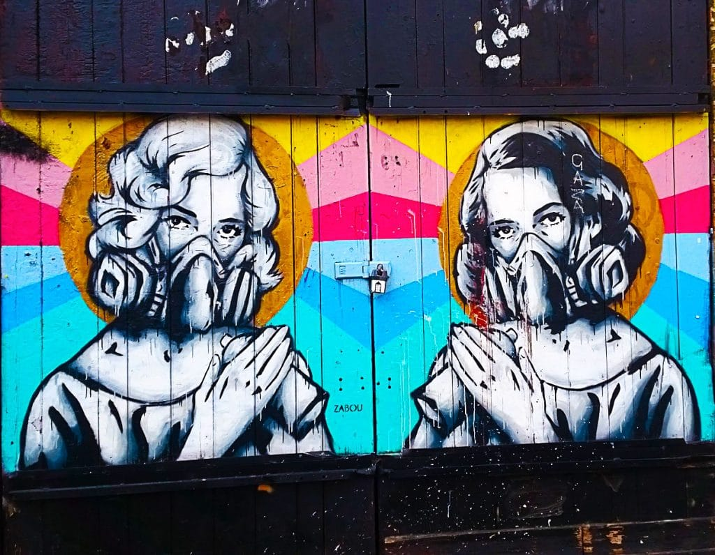 autoportrait en street art de Zabou à Bethnal Green, Londres