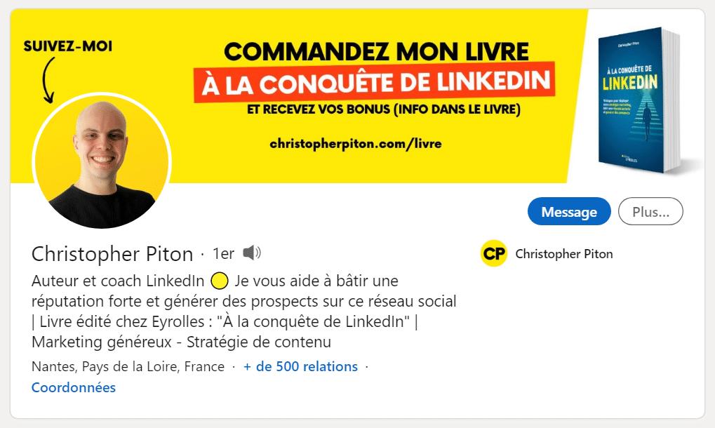 Profil LinkedIn de Christopher Piton