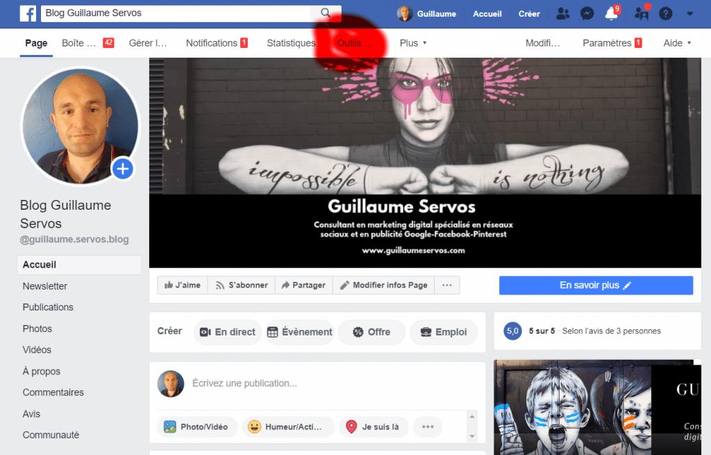 Comment planifier tes publications Instagram avec Facebook creator Studio ? Rends-toi sur ta page et clique sur Outils de publications