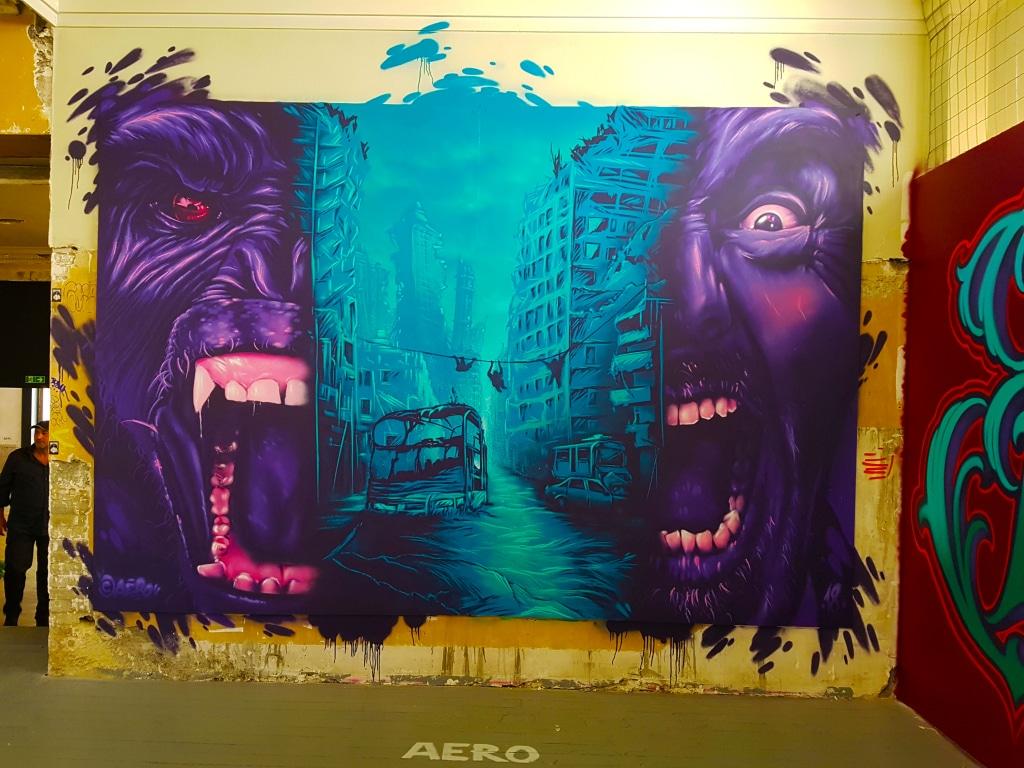 le New-York post apocalyptique du street artiste Aero pour l'exposition street art ZOO Art Show