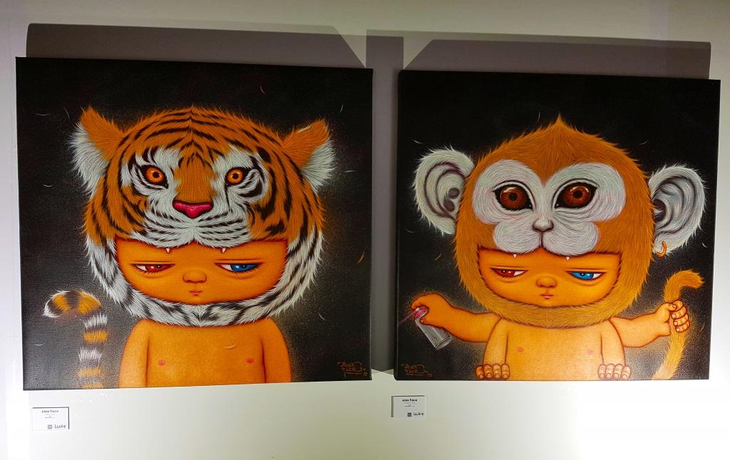 Alex Face dans l'espace galerie au festival street art Peinture Fraîche de Lyon