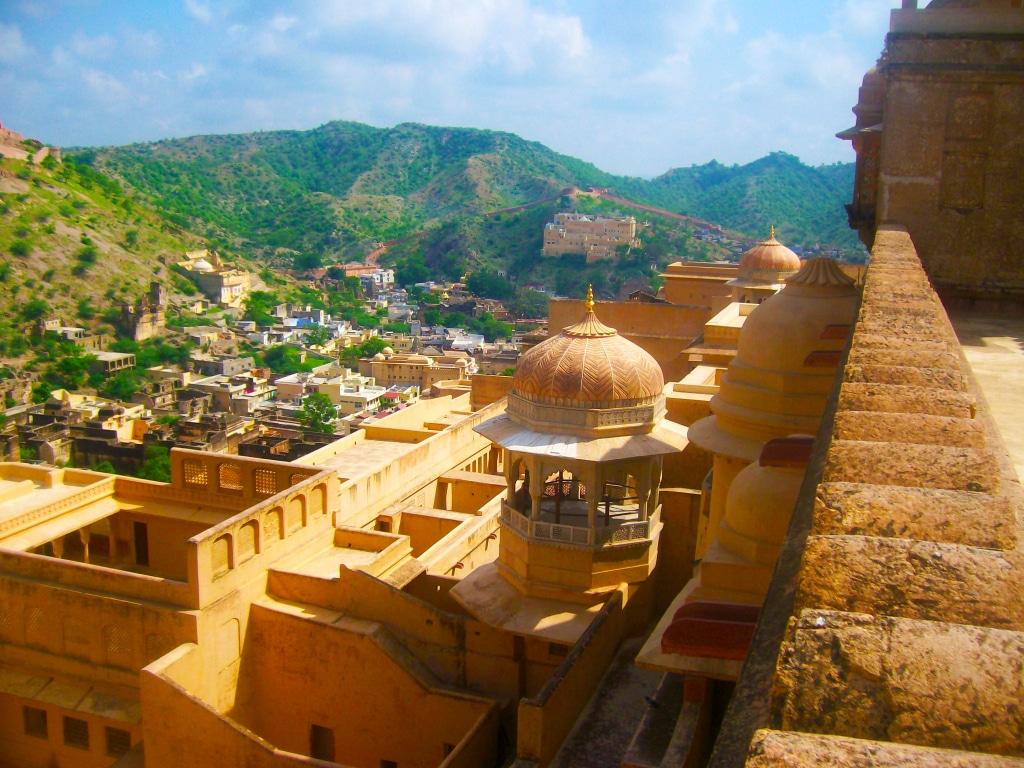 Vue depuis l'Amber Palace (Jaipur en Inde).