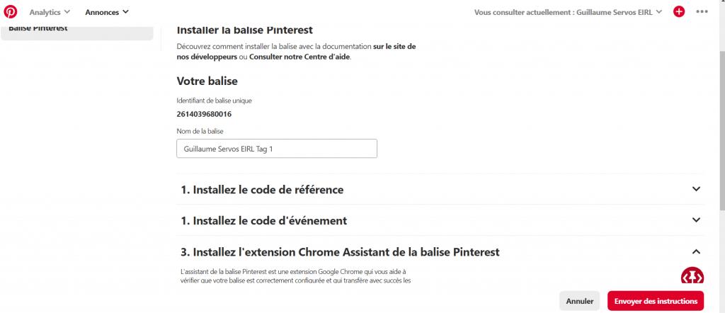 Comment installer le pixel Pinterest avec le code référence