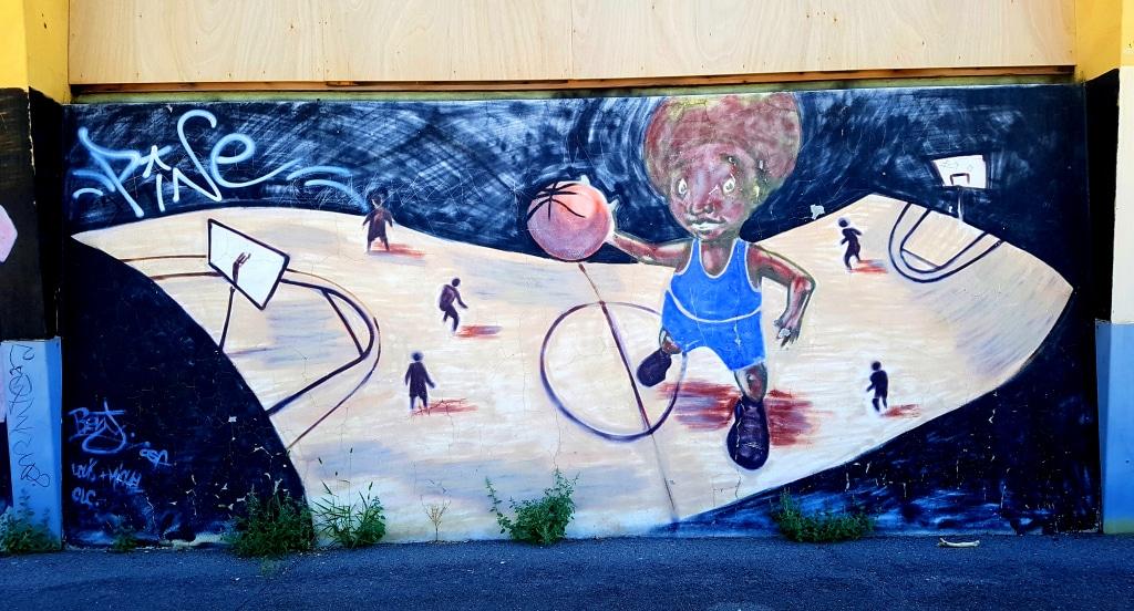 sublime fresque sur le thème du basket, street art Grenoble