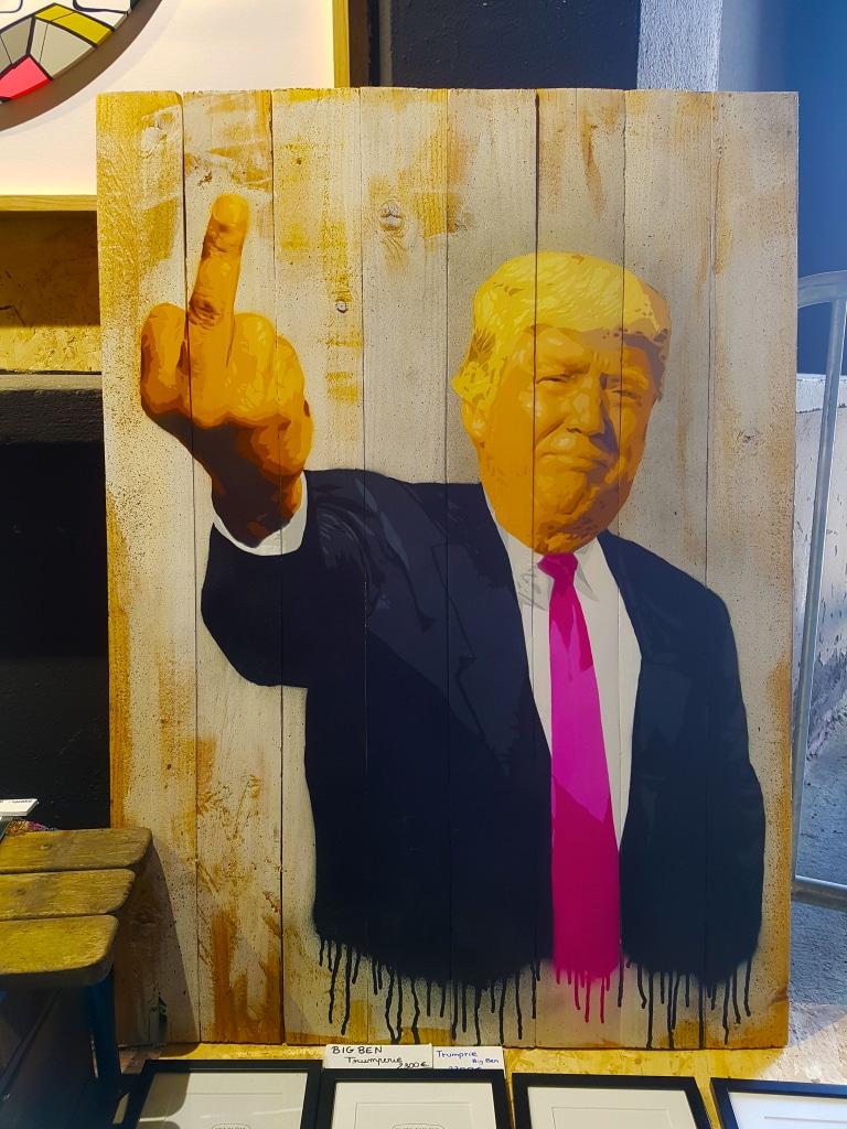 Donald Trump dans les yeux du street artiste lyonnais Big Ben pour Peinture Fraîche à Lyon.