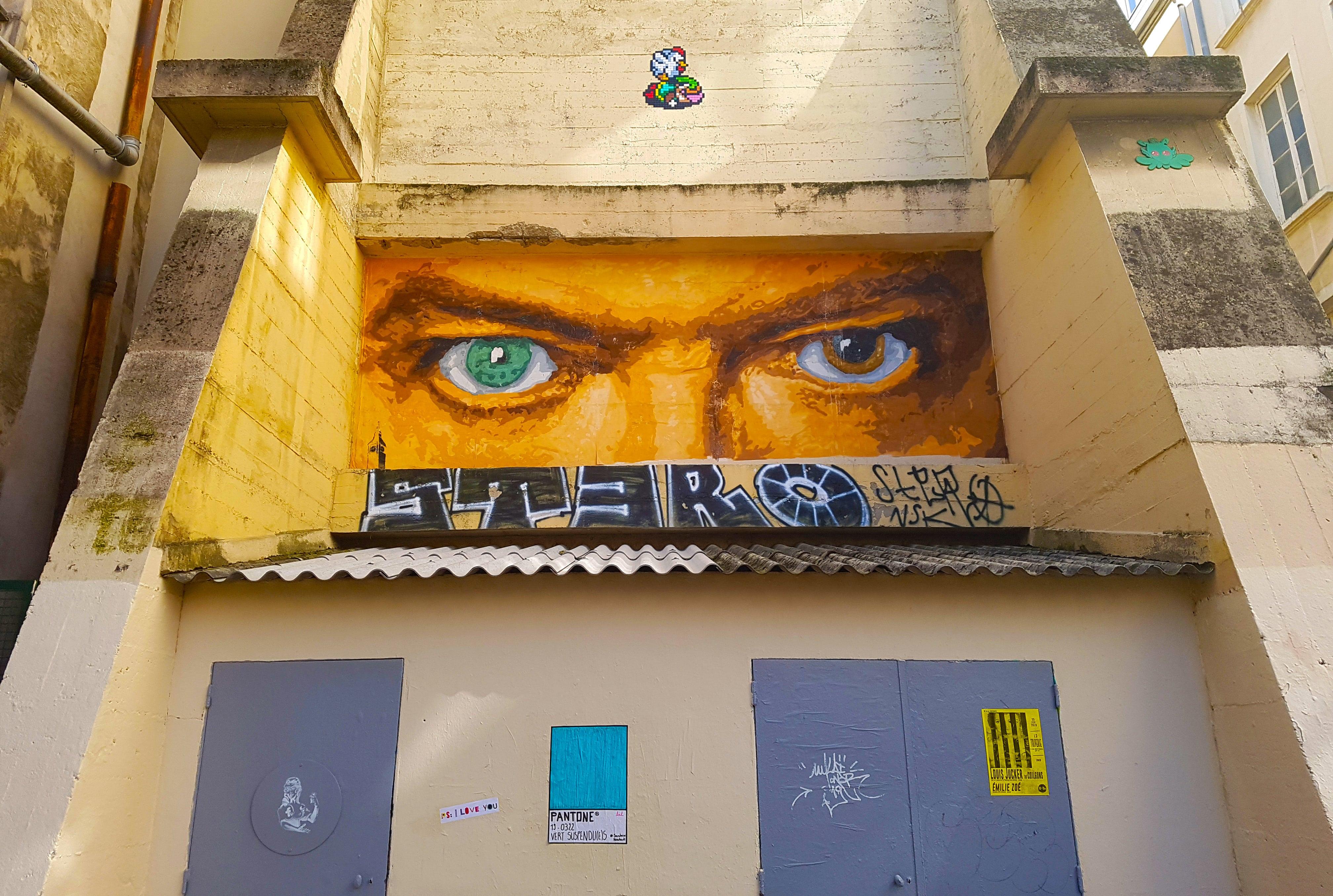 Les yeux de David Bowie par Big Ben, rue Neyret à la Croix Rousse, Lyon