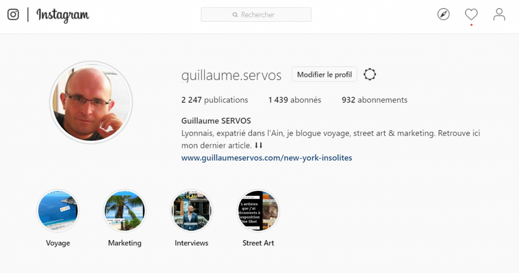 Biographie Instagram de Guillaume Servos