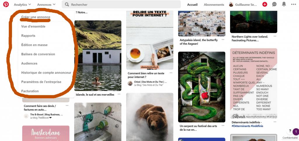 Créer une campagne Pinterest Ads.