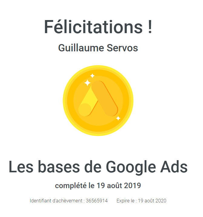 Certification les bases de Google Ads (Adwords) de Guillaume Servos