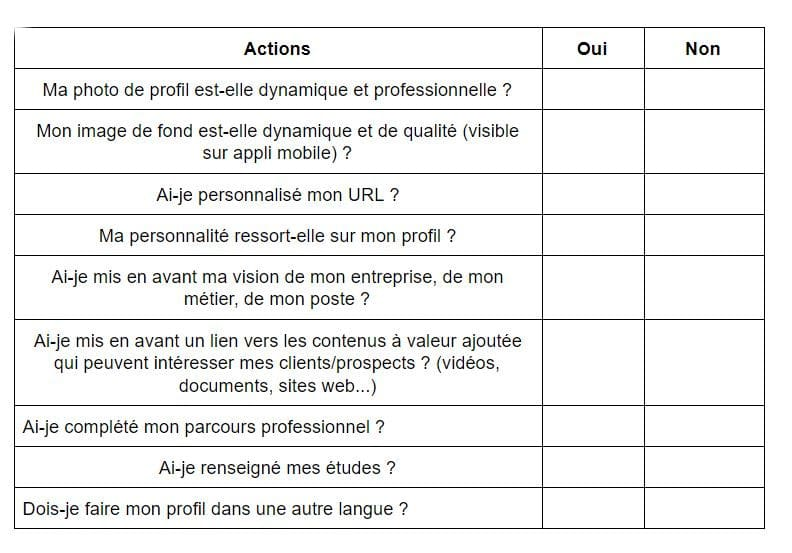 Check-list de ton profil LinkedIn