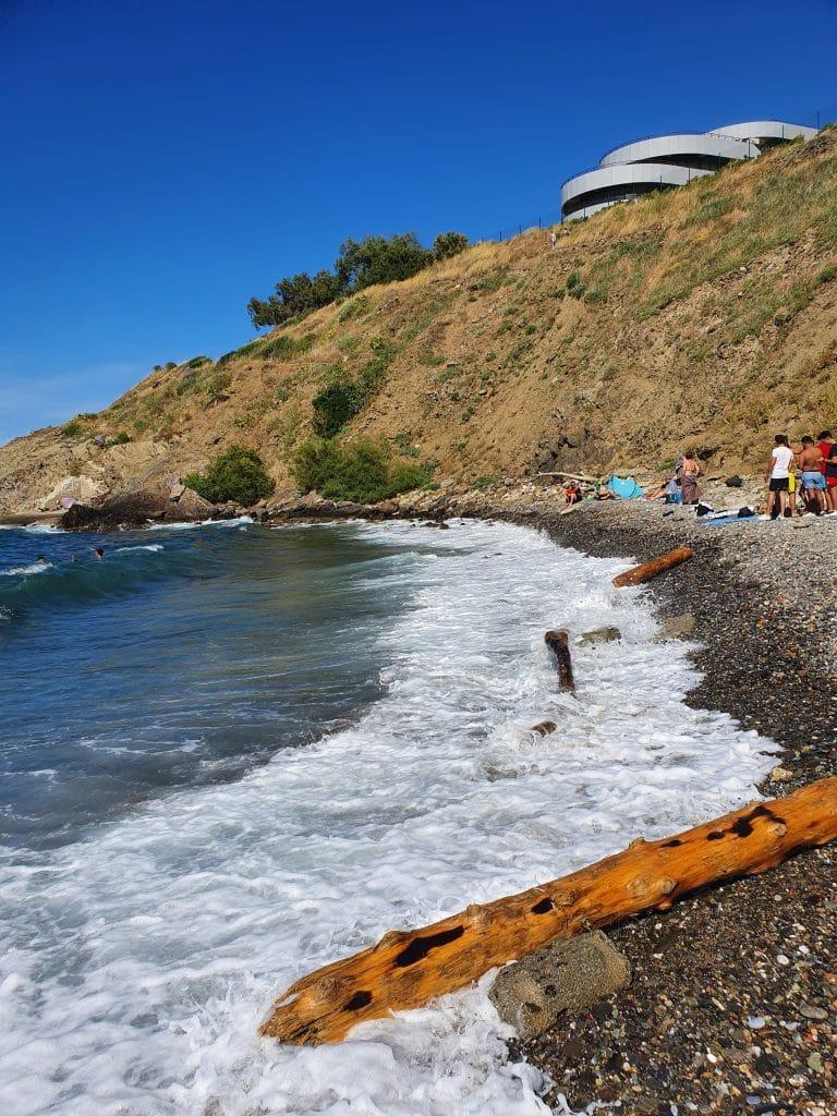 Plage d'en-Baux à Port-Vendres, région de Collioure