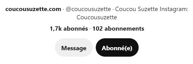 Description du profil Pinterest de Coucou Suzette