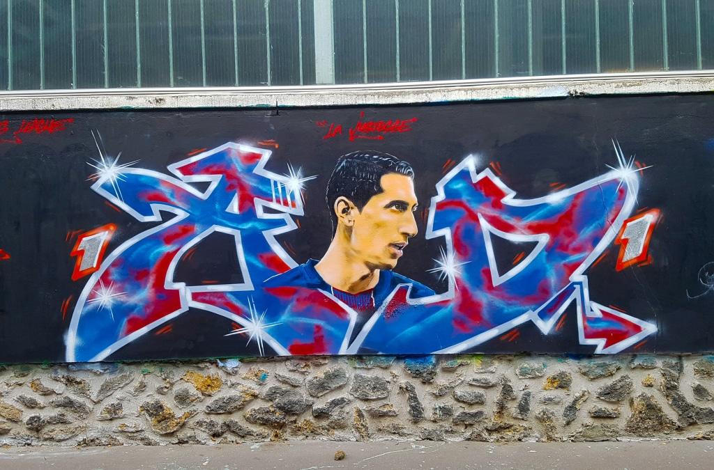 le joueur du PSG Angel Di Maria, rue d'Aubervilliers, street art Paris.