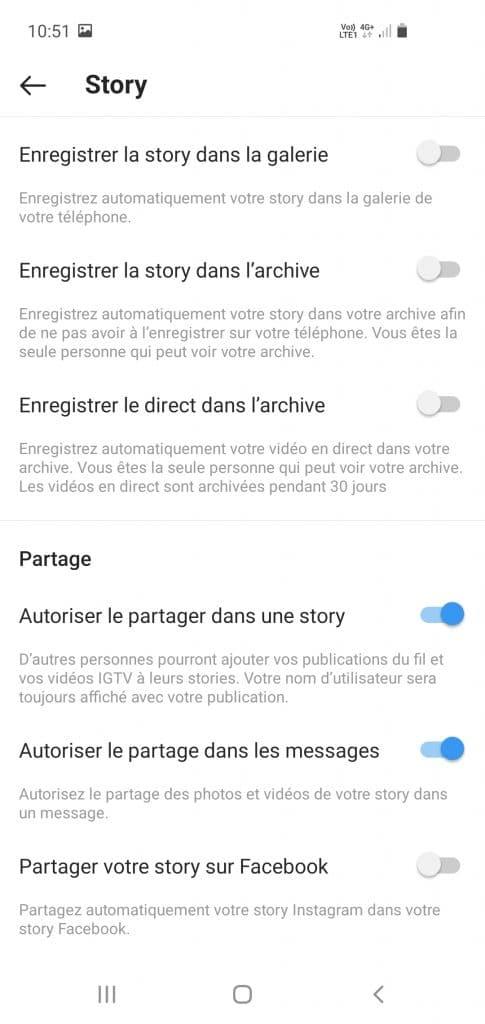 Menu pour modifier les paramètres d'une story
