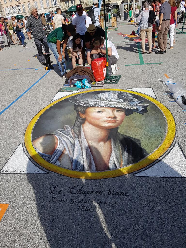 Le chapeau blanc de Jean-Baptiste Greuze pour le festival street art d'Oyonnax, édition 2018