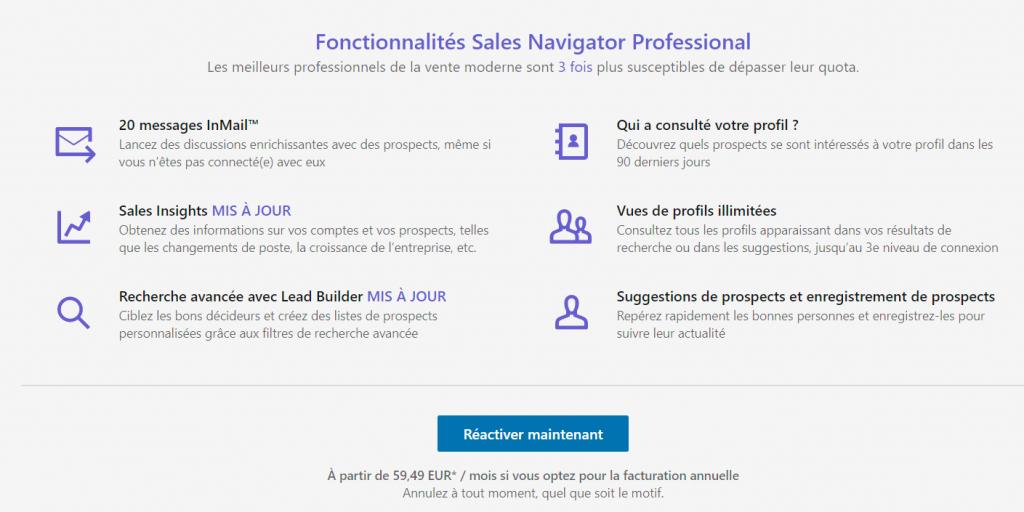 Les fonctionnalités de LinkedIn Sales Navigator
