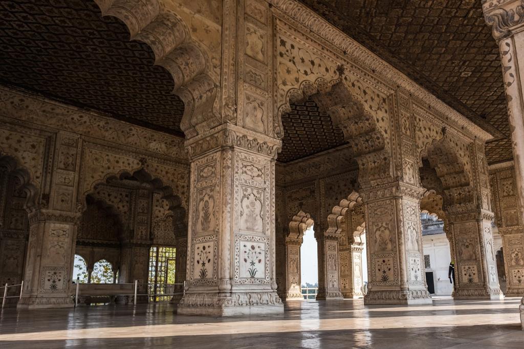 Les intérieurs du Fort Rouge de New Delhi, Inde.