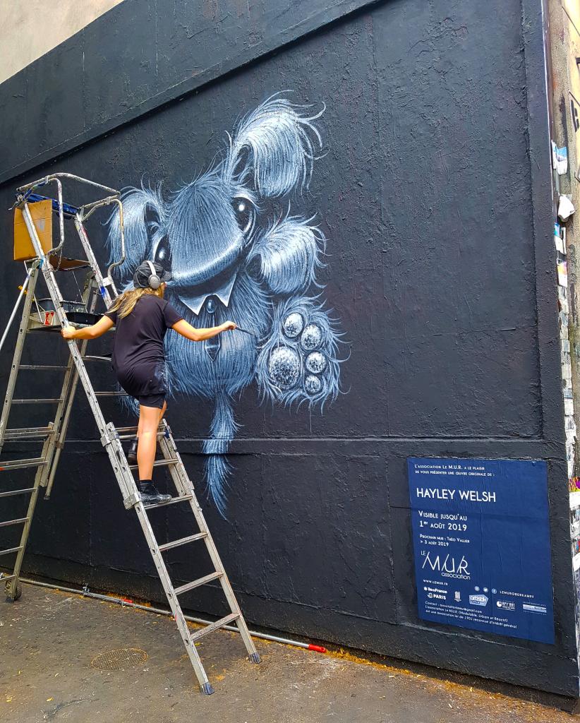 Hayley wSlsh au M.U.R d'OberKampf, street art Paris.