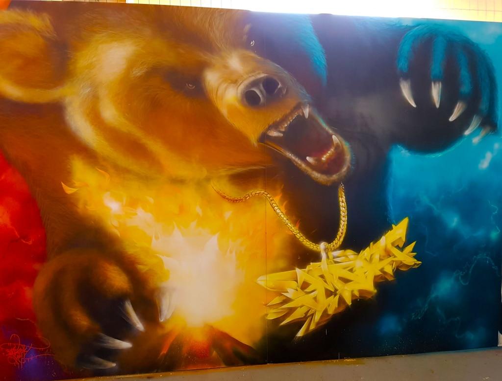l'ours en street art du street artiste Impackt pour l'exposition ZOO Art Show à Lyon