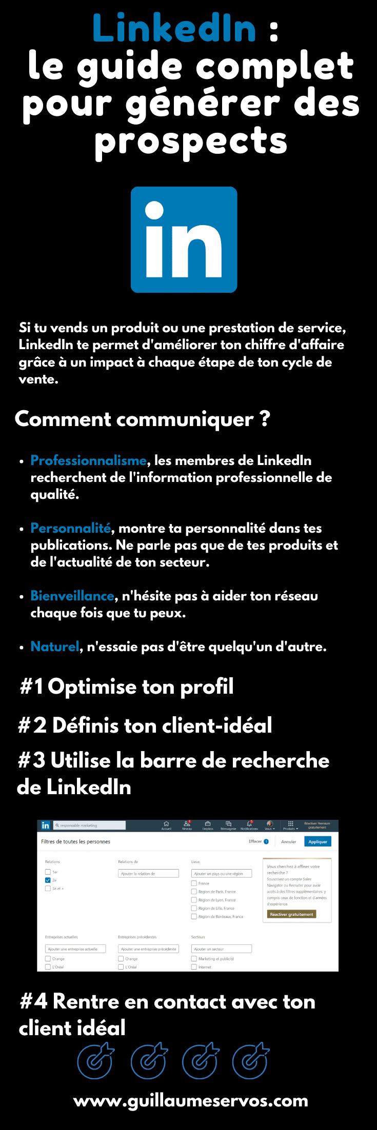 Découvre comment générer des prospects avec LinkedIn, le réseau social professionnel n°1 en France. Au menu : optimiser son profil, définir son client idéal, la barre de recherche avancée...
