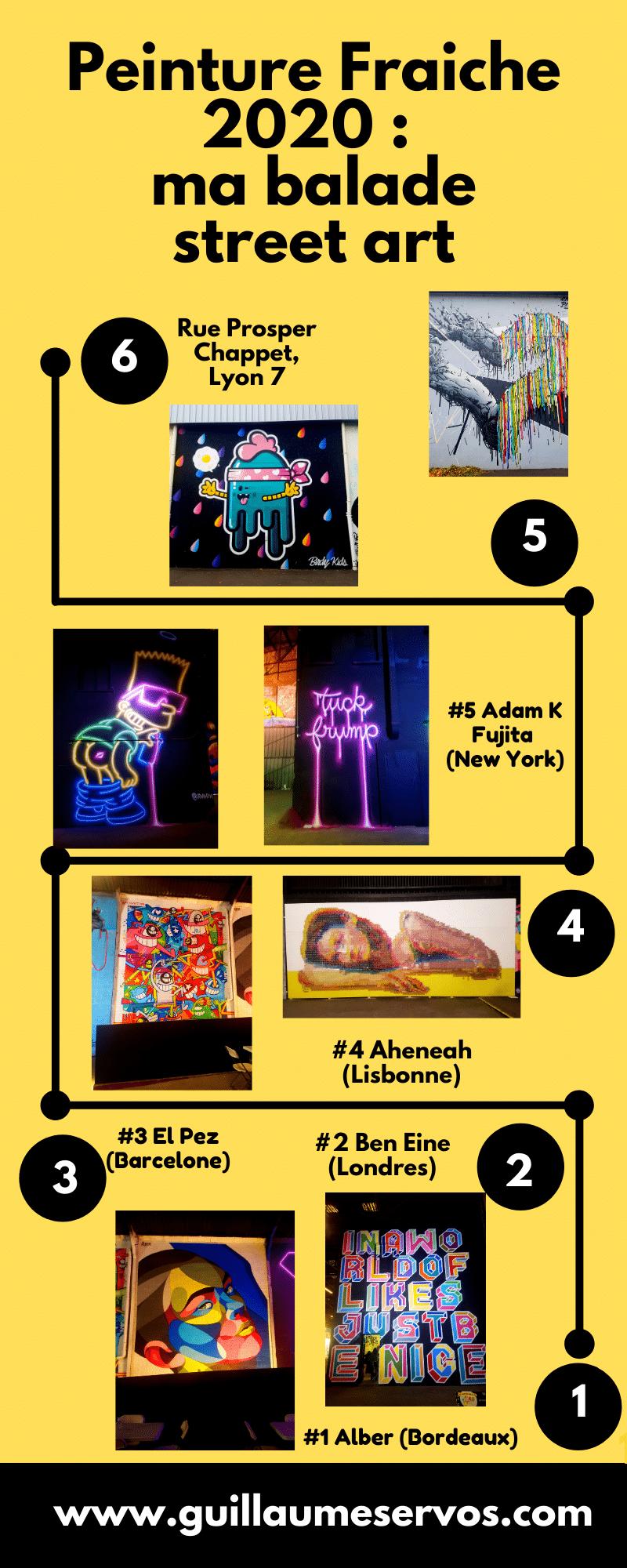 Découvre le festival street art Peinture Fraiche 2020 à la Halle Debourg à Lyon. Mes coups de cœur, mes découvertes et les street artistes que tu as ratés.
