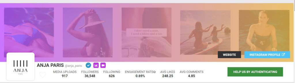 Instagram marketing d'Anja Paris