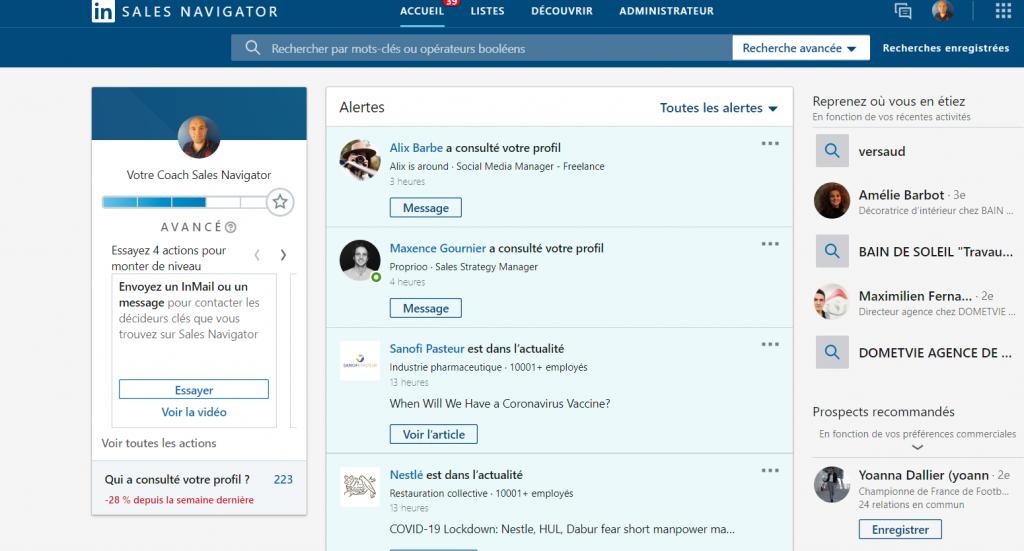 L'interface de LinkedIn Sales Navigator