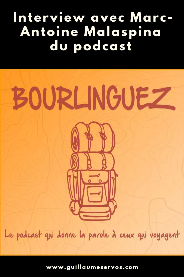 Découvre mon interview avec Marc-Antoine Malaspina du podcast voyage Bourlinguez. Au menu : son rapport au podcast, aux réseaux sociaux, au voyage et sa carte blanche.