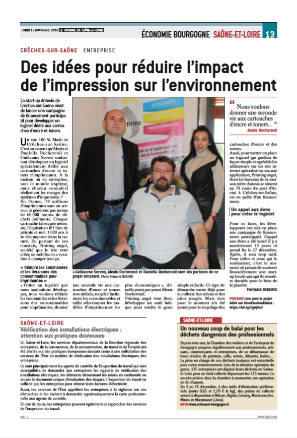 Article sur la campagne de financement participatif de Printing Angel Guillaume Servos
