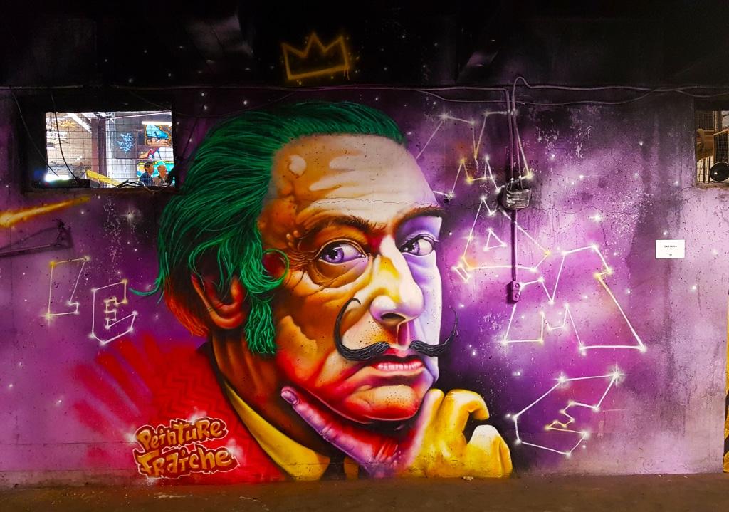 Le street art Le Môme et son Salvator Dali pour le festival street art Peinture Fraîche à Lyon
