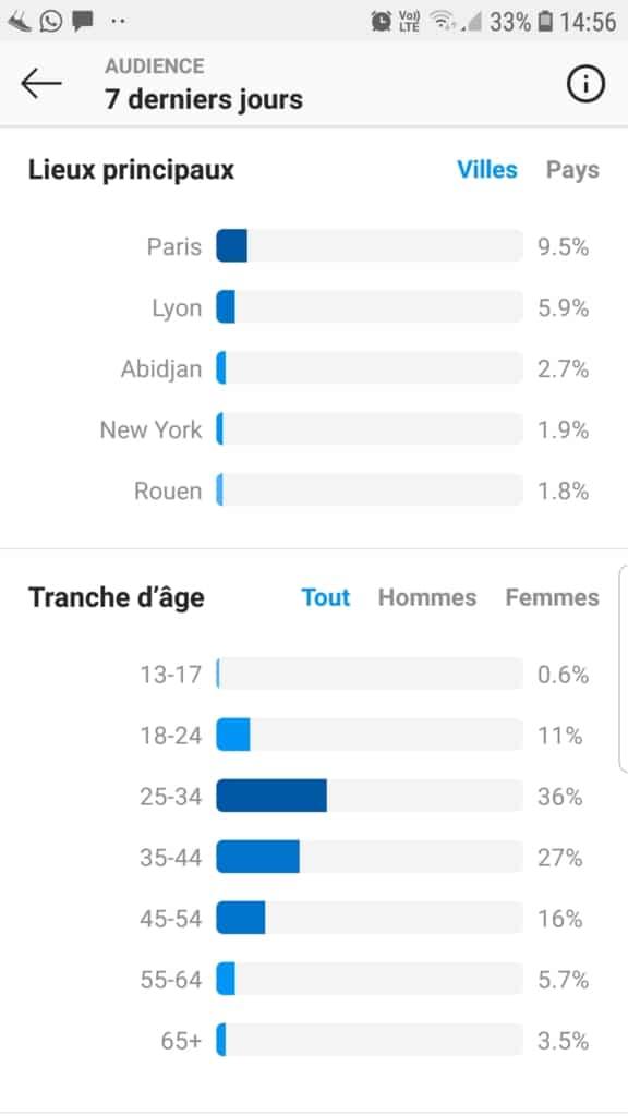 Total des abonnés Instagram (audience) : lieux principaux et tranches d'âge