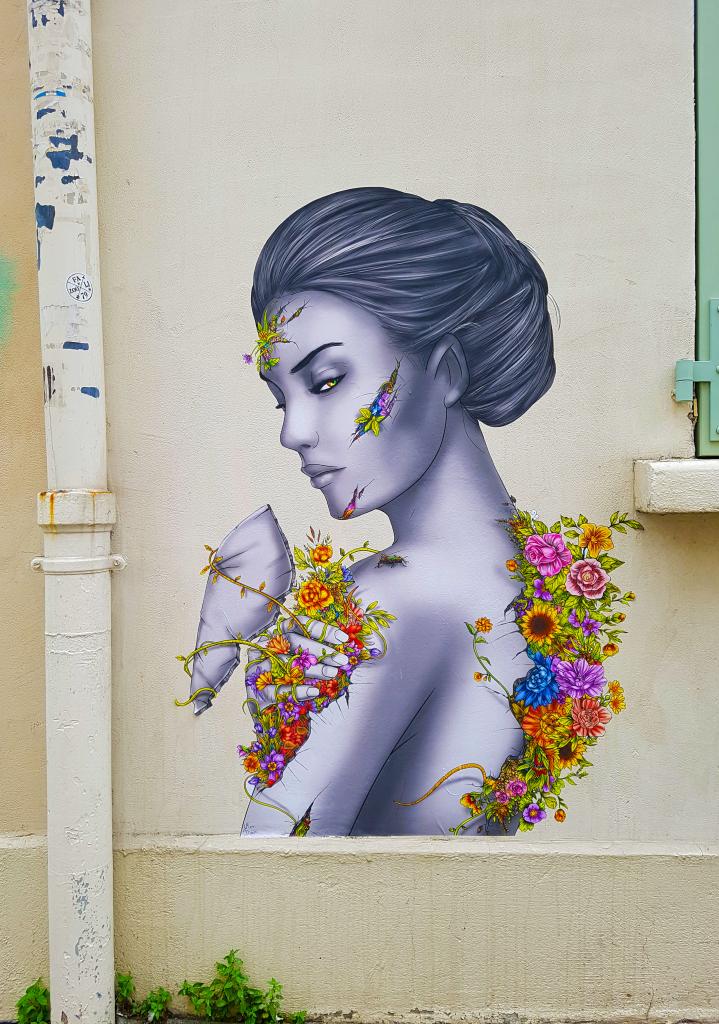 Le street art fleuri de Meridian à la Butte-aux-Cailles, Paris