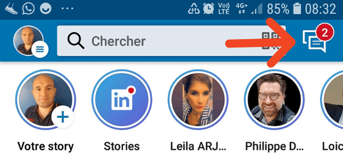 Envoyer des messages via l'application LinkedIn