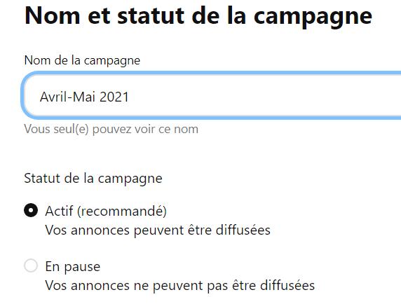 Nom et statut de la campagne
