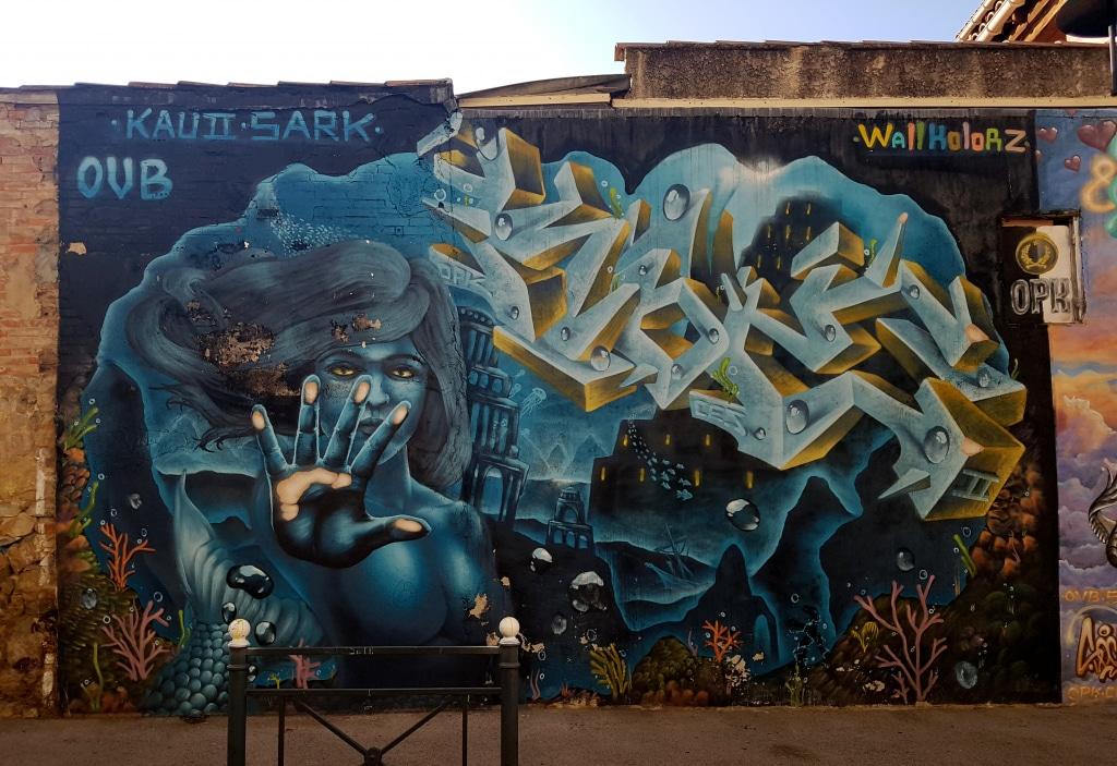 Le street artiste SaRK OVB OPK (@sark_ovb_opk) à La Seyne-sur-Mer.